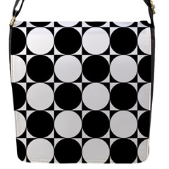 Circles Black White Flap Messenger Bag (S)