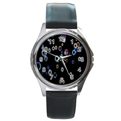 Bubble Light Black Round Metal Watch