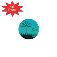 Coconut Palm Trees Sea 1  Mini Buttons (10 pack)