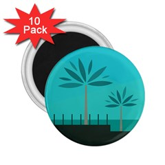 Coconut Palm Trees Sea 2.25  Magnets (10 pack)