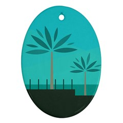 Coconut Palm Trees Sea Oval Ornament (Two Sides)