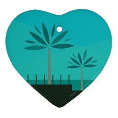 Coconut Palm Trees Sea Heart Ornament (Two Sides)
