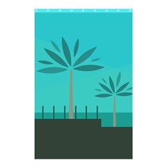 Coconut Palm Trees Sea Shower Curtain 48  x 72  (Small)