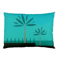 Coconut Palm Trees Sea Pillow Case (Two Sides)
