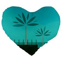 Coconut Palm Trees Sea Large 19  Premium Heart Shape Cushions