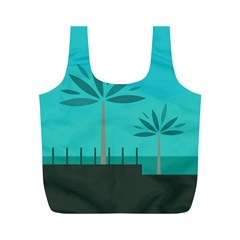 Coconut Palm Trees Sea Full Print Recycle Bags (M)