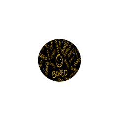 Bored Face Smile Sign Yellow Black Mask 1  Mini Buttons