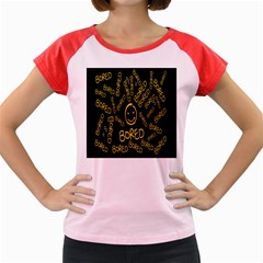 Bored Face Smile Sign Yellow Black Mask Women s Cap Sleeve T-Shirt