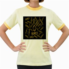 Bored Face Smile Sign Yellow Black Mask Women s Fitted Ringer T-Shirts