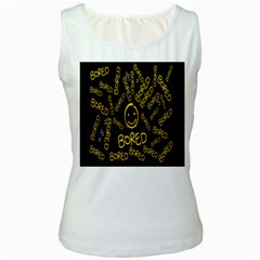 Bored Face Smile Sign Yellow Black Mask Women s White Tank Top