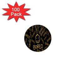 Bored Face Smile Sign Yellow Black Mask 1  Mini Buttons (100 pack)