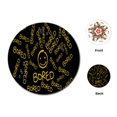 Bored Face Smile Sign Yellow Black Mask Playing Cards (Round)