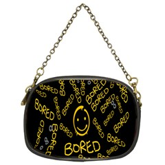 Bored Face Smile Sign Yellow Black Mask Chain Purses (Two Sides)