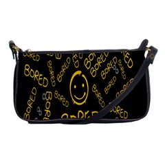 Bored Face Smile Sign Yellow Black Mask Shoulder Clutch Bags