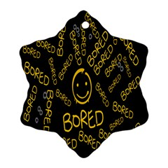 Bored Face Smile Sign Yellow Black Mask Snowflake Ornament (Two Sides)