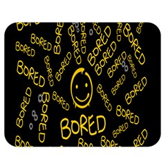 Bored Face Smile Sign Yellow Black Mask Double Sided Flano Blanket (Medium)