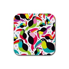 Colorful Toucan Retro Kids Pattern Bird Animals Rainbow Purple Flower Rubber Square Coaster (4 pack)