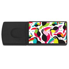 Colorful Toucan Retro Kids Pattern Bird Animals Rainbow Purple Flower USB Flash Drive Rectangular (1 GB)