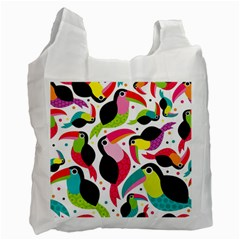 Colorful Toucan Retro Kids Pattern Bird Animals Rainbow Purple Flower Recycle Bag (Two Side)