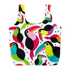 Colorful Toucan Retro Kids Pattern Bird Animals Rainbow Purple Flower Full Print Recycle Bags (L)