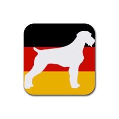 German Wirehaired Pointer Silo On Flag Rubber Coaster (Square)