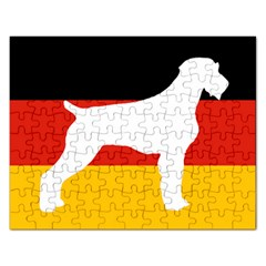 German Wirehaired Pointer Silo On Flag Rectangular Jigsaw Puzzl