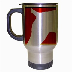 German Wirehaired Pointer Silo On Flag Travel Mug (Silver Gray)