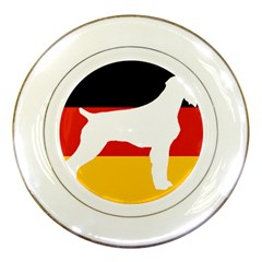 German Wirehaired Pointer Silo On Flag Porcelain Plates