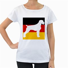 German Wirehaired Pointer Silo On Flag Women s Loose-Fit T-Shirt (White)