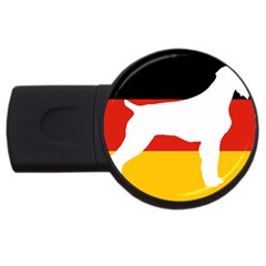 German Wirehaired Pointer Silo On Flag USB Flash Drive Round (4 GB)
