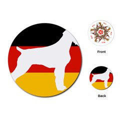 German Wirehaired Pointer Silo On Flag Playing Cards (Round)