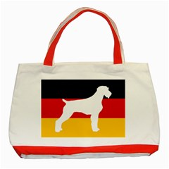 German Wirehaired Pointer Silo On Flag Classic Tote Bag (Red)