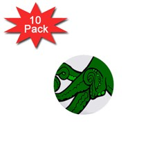 Tentacle Monster Green  1  Mini Buttons (10 pack)