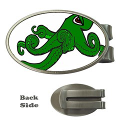 Tentacle Monster Green  Money Clips (Oval)