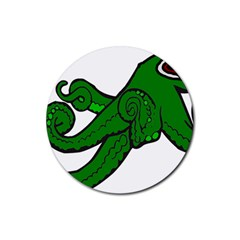 Tentacle Monster Green  Rubber Round Coaster (4 pack)