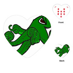 Tentacle Monster Green  Playing Cards (Heart)
