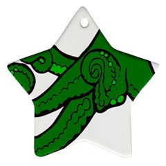 Tentacle Monster Green  Star Ornament (Two Sides)
