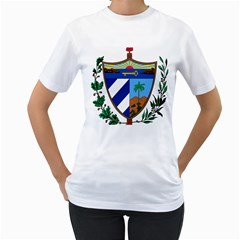 Coat of Arms of Cuba Women s T-Shirt (White) (Two Sided)