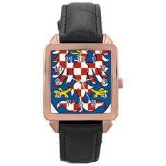 Moravia Coat of Arms  Rose Gold Leather Watch