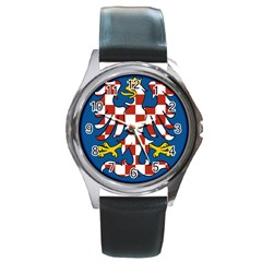 Flag of Moravia  Round Metal Watch