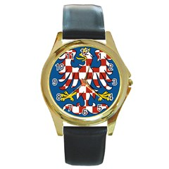 Flag of Moravia  Round Gold Metal Watch