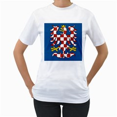 Flag of Moravia Women s T-Shirt (White) (Two Sided)