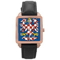 Flag of Moravia Rose Gold Leather Watch