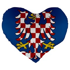 Flag of Moravia Large 19  Premium Flano Heart Shape Cushions
