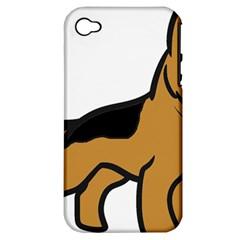 German Shepherd Cartoon Apple iPhone 4/4S Hardshell Case (PC+Silicone)