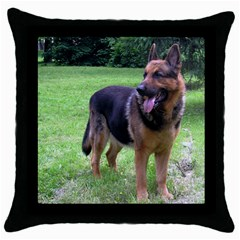 German Shepherd Full Throw Pillow Case (Black)