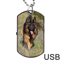 German Shepherd In Motion Dog Tag USB Flash (One Side)