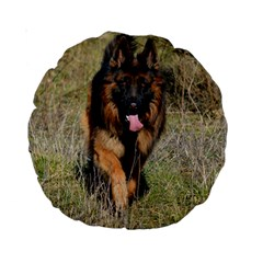 German Shepherd In Motion Standard 15  Premium Round Cushions