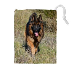 German Shepherd In Motion Drawstring Pouches (Extra Large)