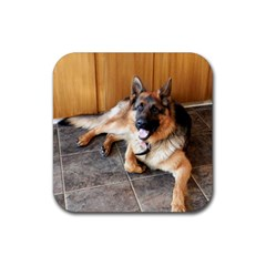 German Shepherd Laying 2 Rubber Square Coaster (4 pack)